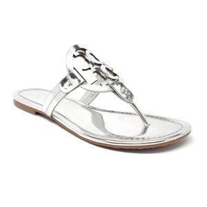 Tory Burch Miller Sandals Metallic Silver Size 6